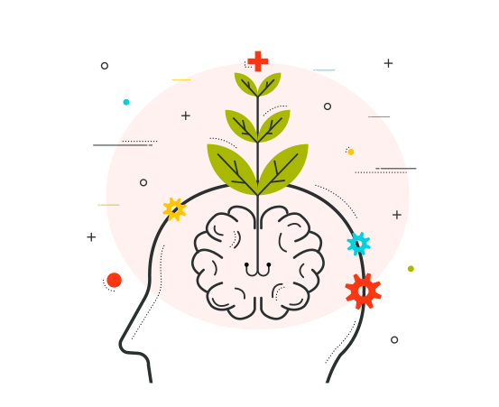 A cartoon image displaying a plant growing inside brain depicting